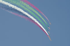 Bahrain international air show 2012. Second bahrain interanational air show  present fastest and advanced aircraft performing stunts and manoeuvrability Royalty Free Stock Photo