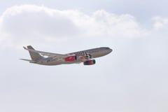 Bahrain International Airshow 2012, Gulf Air A330. Sakhir Airbase, Bahrain - JANUARY 21: Flying display  of Gulf Air A330 in Bahrain International Airshow at Stock Images