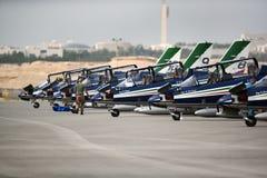 Bahrain International Airshow 2018. SAKHIR, BAHRAIN - NOVEMBER 14: Static display of Frecce Tricolori of Italy in Bahrain International Airshow at Sakhir Airbase royalty free stock photos