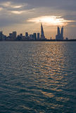 Bahrain. Manama, the city at sunset seen from the La Shaikh  Isa Causeway Royalty Free Stock Images