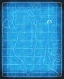 Bahrain map blue print artwork illustration silhouette Royalty Free Stock Images
