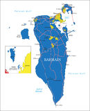 Bahrain map. Highly detailed vector map of Bahrain with administrative regions, main cities and roads royalty free illustration
