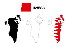 Bahrain map vector, Bahrain flag vector, isolated Bahrain Royalty Free Stock Photography