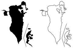 Bahrain map vector. Illustration, scribble sketch Kingdom of Bahrain Stock Photography