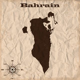 Bahrain old map with grunge and crumpled paper. Vector illustration Royalty Free Stock Images