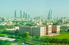 Bahrain Skyline. An aerial shot of the Bahrain Skyline with the Imperial Palace in the forground stock images