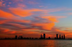 Bahrain skyline with beautiful sky during sunset Stock Photos