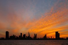 Bahrain skyline and beautiful sunset, HDR. A beautiful view of Bahrain skyline during evening hours at suns Royalty Free Stock Image