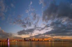 Bahrain skyline during blue hour, HDR Stock Photography