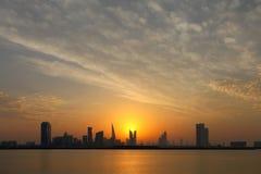 Bahrain Skyline and dframatic sky during sunset Stock Photo