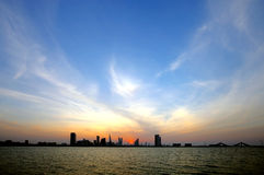 Bahrain skyline during dusk Royalty Free Stock Photos