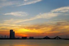 Bahrain skyline during dusk Stock Images
