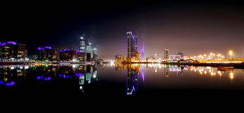 Bahrain skyline with Finacial Harbour building at night Royalty Free Stock Images