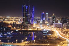 Bahrain Skyline. A long exposure shot of Bahrain Skyline at night Royalty Free Stock Image