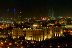 Bahrain Skyline at Night. A night aerial shot of the Bahrain Skyline with the Imperial Palace in the forground Royalty Free Stock Photos