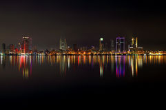 Bahrain skyline at night and reflection Stock Image