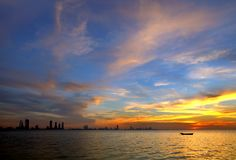 Bahrain skyline and the splendid sunset at Bahrain Royalty Free Stock Images