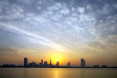 Bahrain Skyline during sunset Royalty Free Stock Images
