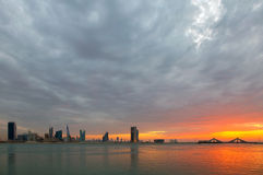 Bahrain skyline at sunset, HDR Stock Image