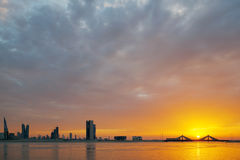 Bahrain skyline at sunset, HDR Royalty Free Stock Photo