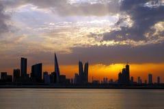 Bahrain skyline during sunset, HDR Stock Photo