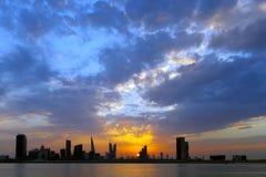 Bahrain skyline during sunset, HDR Stock Photos