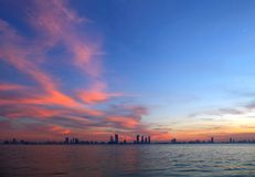 Bahrain skyline during sunset, HDR photograph Stock Photo