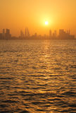 Bahrain skyline during sunset Royalty Free Stock Photography