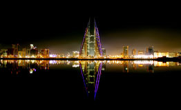 Bahrain Skyline with World trade center at night Stock Photos