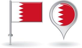 Bahrain stiftsymbol och översiktspekareflagga vektor vektor illustrationer