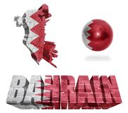 Bahrain Symbols. Bahrain flag and map in different styles in different textures Stock Images