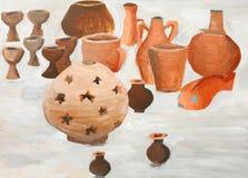 Bahrain traditional pottery painting. Beautiful painting of traditional pottery with a lamp in focus Stock Photos
