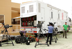Bahrain TV crew with cameras on March 23, Bahrain Stock Image