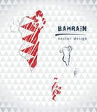 Bahrain vector map with flag inside isolated on a white background. Sketch chalk hand drawn illustration. Vector sketch map of Bahrain with flag, hand drawn royalty free illustration