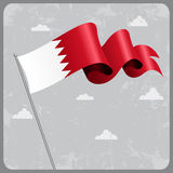 Bahrain wavy flag. Vector illustration. Royalty Free Stock Images