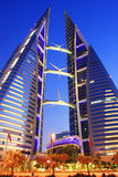 Bahrain World Trade Center. The two towers are linked via three skybridges, each holding a 225KW  wind turbine, totalling to 675kW of wind power production. Each Stock Images