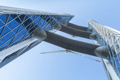 Bahrain World Trade Center facade with wind turbines Royalty Free Stock Photo