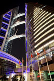 Bahrain World Trade Center at Night, Bahrain. Night image of Bahrain's iconic building, the Bahrain World Trade Center, Manama, Bahrain Stock Photos