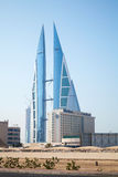 Bahrain World Trade Center som lokaliseras i den Manama staden Arkivfoton