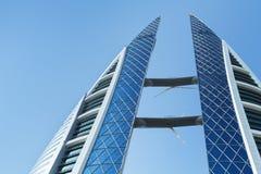 Bahrain World Trade Centerfasad, Manama Arkivbild
