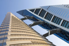 Bahrain World Trade Centre. At sunset in Manama stock photography