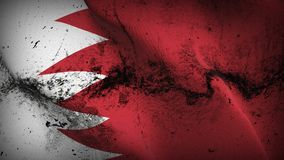 Bahrain grunge dirty flag waving on wind. Bahraini background fullscreen grease flag blowing on wind. Realistic filth fabric texture on windy day Royalty Free Stock Photos