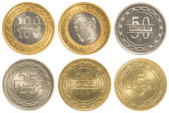 Bahraini dinar coins collection set. Isolated on white background Royalty Free Stock Photography