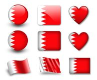 The Bahraini flag. Set of icons and flags. glossy and matte on a white background Royalty Free Stock Images
