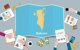 Bahrajn kraju narodu wzrostowa drużyna dyskutuje z fałd map widokiem od wierzchołka royalty ilustracja