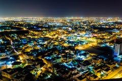 Bahrajn widok z lotu ptaka przy nocą obraz stock