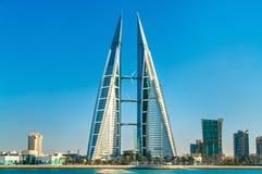 Bahrajn world trade center w Manama Środkowy wschód obrazy royalty free