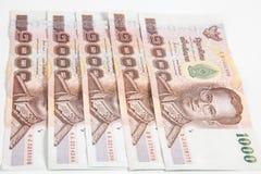 1000 bahtów Tajlandzkich banknotów Zdjęcie Stock