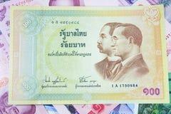100-Baht-Banknote thailändisch Stockfotos