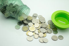 Baht coin. Thailand's baht coin piggy bank savings Royalty Free Stock Photography